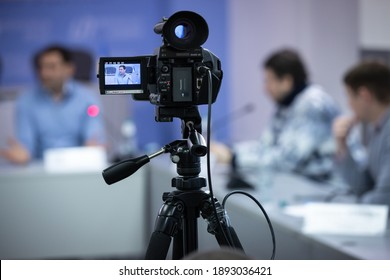 Press conference in a news agency, TV camera in a press center. Kyiv, Ukraine. December 18, 2020.