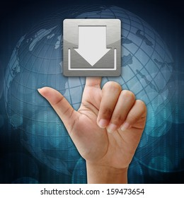 In press download icon on global background