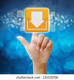 In press download icon on touch screen interface