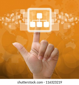 In press network icon for business concept