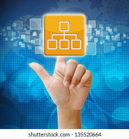 In press network icon on touch screen interface