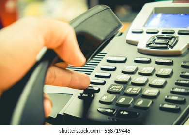 Press phone on the desk, vintage tone.