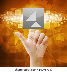 In press Satellite dish icon on touch screen interface