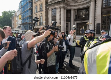 The press scrum during the Al Quds Day rally, London, 10/06/18.