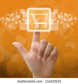 In press shopping icon for business concept