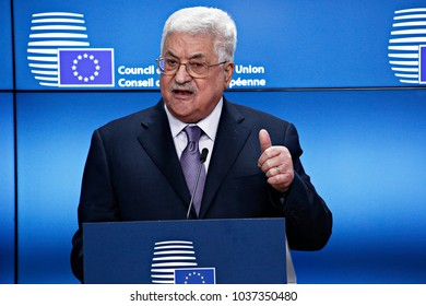 Press statement by President of the State of Palestine and Palestinian National Authority Mahmoud Abbas at the European Union headquarters in Brussels, Belgium on Jan. 22, 2018.