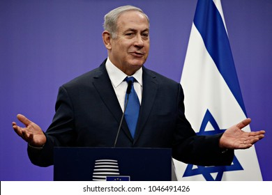Press statement by Prime Minister of Israel Benjamin Netanyahu at the European Union headquarters in Brussels, Belgium on Dec. 11, 2017.