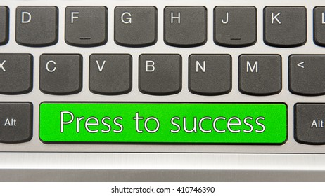 Press to success written on large button of keyboard