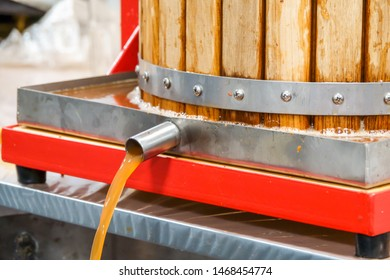 Pressing apple juice with a small apple press, before making cider with it