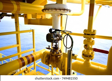 Pressure control valve in oil and gas process and controlled by Program Logic Control,