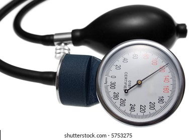 Pressure Gauge and Air Pump. Parts of a pressure measuring device used in medicine. Isolated on white.