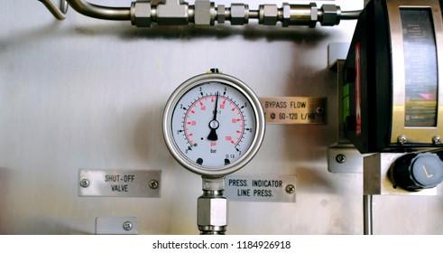 Pressure gauge of co2 calculator on gas process. Wellhead platform.