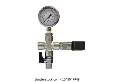 Pressure gauge connecting with three way and ball valve isolated on white background.