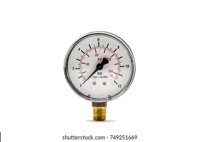 Pressure gauge isolated on white