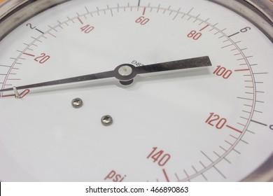 Pressure gauge, manometer closeup