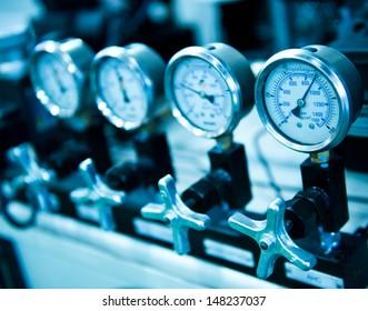 Pressure gauge, measuring instrument close up.