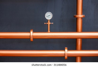 Pressure gauge meter on copper pipes