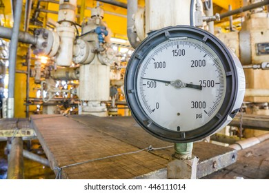 Pressure gauge for monitoring measure pressure production process, Oil and gas or petroleum on offshore wellhead platform in the gulf or the sea, Energy and petroleum industry is major of the world.
