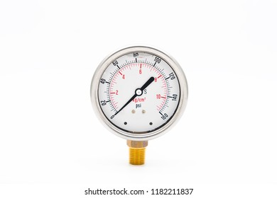 Pressure Gauge with Oil fill on white background.