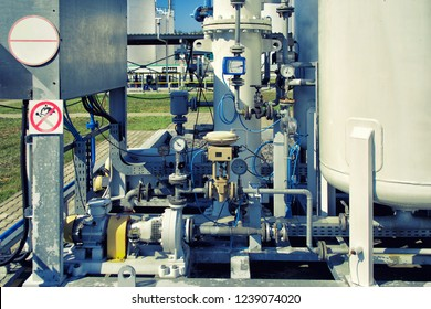 Pressure gauge psi meter in pipe and valves of oil system