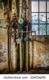 Pressure instruments in an old factory