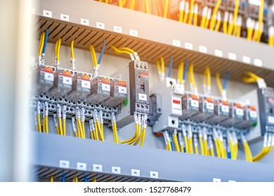 Pressure switch panel with circuit breakers Electric background electrical box enclosure for electricity and power distribution Voltage is not disconnected.