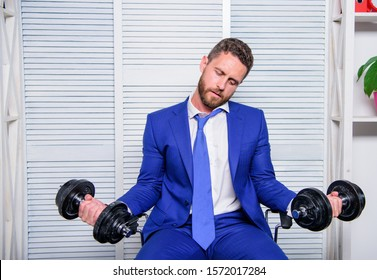 Pressure tension stress. Mental and emotional tension. Man raise heavy dumbbells. Businessman manager exhausted. Sport healthy lifestyle. Downcast concept. Despondent by work. Feel tension in muscles.
