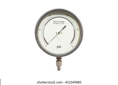 Pressure test gauge isolated on white background,analog Pressure test gauge for pressure test accuracy 0.25%