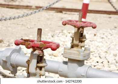 Pressure valves at the site of First oil well in the Persian Gulf, Bahrain