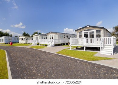 Prestatyn, Gorant, North Wales Great Britain, UK- Sep 08 2017 : A row of Static caravans with verandas private parking bays, and well manicured lawns at Presthaven sands holiday park North Wales U.K.