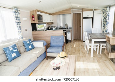 Prestatyn, Gorant, North Wales Great Britain, UK- Sep 04 2017 : Interior of luxury six berth static caravan. Detail photo of Static caravan holiday home. Double bedroom.