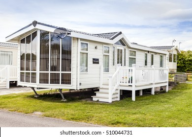 Prestatyn, Gorant, Wales Great Britain, UK- May 21 2016 :Static caravan holiday homes at a U K holiday resort. Presthaven sands North Wales.