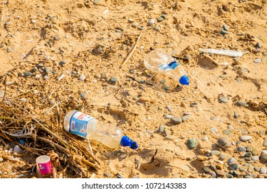 Prestatyn, North Wales- 8th September, 2017: plastic waste on beach . North Wales, UK.