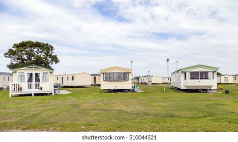 Prestatyn, North Wales, United Kingdom. September 10 2015: Typical British static caravan holiday park Wales Great Britain .