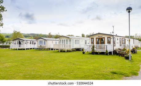 Prestatyn, North Wales, United Kingdom. September 10 2015: Typical British static caravan holiday park Wales Clwyd