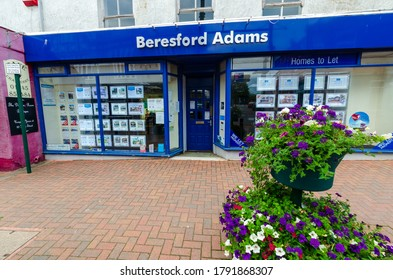 Prestatyn, UK: Jul 06, 2020: Beresford Adams are a regional estate agent with branches in North Wales and Chester. This is their Prestatyn branch.