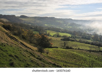 Prestbury Hill viewed from Cleeve Common Fort with Fog in the Valley