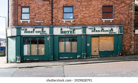 Preston, England, 02 26 2021: Closed hotel during the Covid 19 pandemic. Now abandoned and let to ruin.
