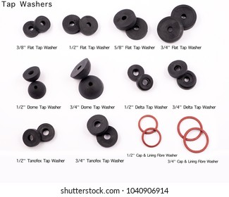 Preston, Lancashire / UK - 03 03 2018: Plumbers selection of tap washers, studio, 2018