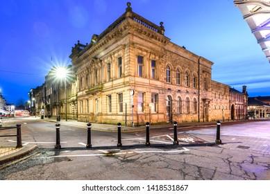 Preston Town hall at blue hour , Preston, Lancashire, UK.