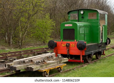 """Prestongrange, East Lothian, Scotland, April 19th 2015: A Ruston 48DS 0-4-0 diesel shunter of standard gauge built between 1941 and 1946 with a 4VRO engine unit and a wheel diameter of 2' 6"""""""