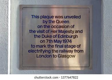 Preston,Lancashire/England - 27.10.2018 - Electrification memorial plaque 1974 the Queen at Preston railway station