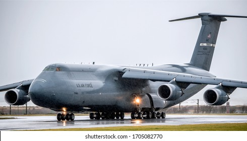 Prestwick, Scotland - 28th February 2020. C5-M Super Galaxy from the US Airforce at Glasgow Prestwick airport