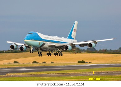 PRESTWICK, SCOTLAND, JULY 13 2018. President Trump and First Lady Melania about to land, July 13th 2018 at Prestwick Airport, Scotland on Air Force One B747 en route to the Trump Turnberry golf resort