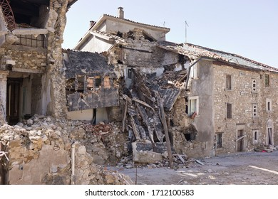 Pretare, Province of Ascoli Piceno, Italy,2019: village buildings destroyed by the 2016 earthquake