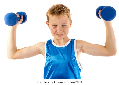 Pre-teen boy lifting weights isolated on a white background