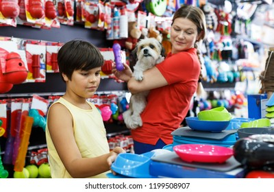 Preteen boy with mother selecting accessories for their puppy in pet shop