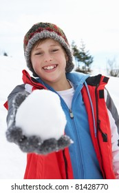 Pre-teen Boy On Winter Vacation