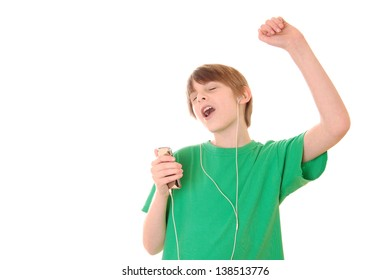 Preteen Boy Singing Along to Music on mp3 Player