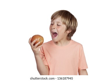 Preteen eating a red apple isolated on white background
